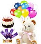send spicial combo of teddy cake chocolates and balloons delivery
