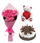 send spicial Bday combo pink roses cake teddy delivery