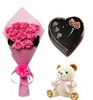 send Bday pink roses heart shaped cakes and teddy delivery