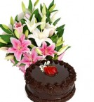 send chocolate cake and fresh asiatic lilies  delivery