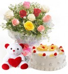 send half kg eggless pineapple cake ten mix roses bunch delivery