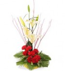 send  fresh lilies and carnation bouquet  delivery
