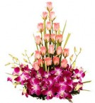 send pink orchids and pink roses designer bouquet delivery