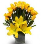 send yellow lilies rose designer bouquet  delivery