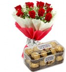 send 12 red roses bouquet with 16pcs ferrero rocher chocolate delivery