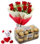 send red roses bouquet ferrero rocher chocolate with teddy delivery