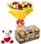send mix roses bouquet ferrero rocher chocolate with teddy delivery