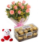 send pink roses bouquet ferrero rocher chocolate with teddy delivery
