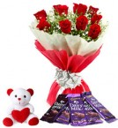 send red roses chocolate with teddy combo-one delivery