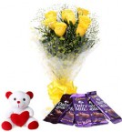 send yellow roses chocolate with teddy combo-two delivery