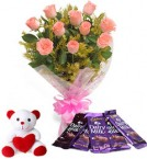 send pink roses chocolate with teddy combo-three delivery