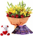 send red roses yellow Lilies chocolate bouquet with teddy delivery