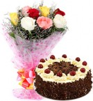 send black forest cake and 10 mix roses  delivery