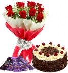 send 10 red roses bouquet and 5 dairy milk chocolate with black forest cake delivery