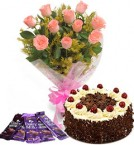 send 10 pink roses bouquet and 5 dairy milk chocolate with black forest cake delivery