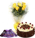 send 10 yellow roses bouquet and 5 dairy milk chocolate with black forest cake delivery