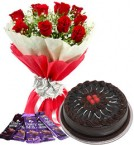 send 10 red roses bouquet and 5 dairy milk chocolate with chocolate cake delivery