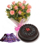 send 10 Pink roses bouquet and 5 dairy milk chocolate with chocolate cake delivery