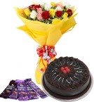 send 10 mix roses bouquet and 5 dairy milk chocolate with chocolate cake delivery