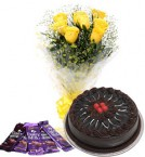 send 10 yellow roses bouquet and 5 dairy milk chocolate  with chocolate cake delivery