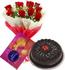 send 10 red roses bouquet and cadbury celebration  box with chocolate cake delivery