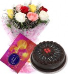 send 10 mix roses bouquet and cadbury celebration box with chocolate cake delivery