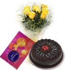send 10 yellow roses bouquet and cadbury celebration box with chocolate cake delivery