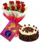 send 10 red roses bouquet and cadbury celebration box with black forest cake delivery