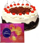 send  Cadbury Celebration Chocolate with 500gms Eggless Black Forest Cake  delivery