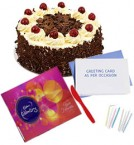 send Celebration Chocolate with 500gms Black Forest Cake n Card delivery