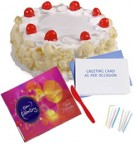 send Cadbury Celebration Chocolate with 500gms White Forest Cake nCard delivery