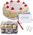 send 500gms white forest cake 16pcs ferrero rocher-chocolate n card delivery