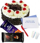 send half kg black forest cake 2pcs chocolate n card delivery