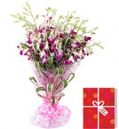 send 6 Blue or Purple orchids bouquet n greeting card delivery