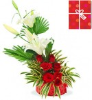 send beautiful White Lilies and red roses arranged in a basket with Greeting Card delivery