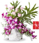 send Arrangement of orchids and pink roses with Greeting Card delivery