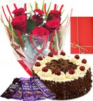 send Half Kg Eggless Black Forest Cake with Roses Bunch and dairy milk chocolate  Greeting Card delivery