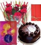 send Half Kg Eggless Chocolate Cake with Roses Bunch and cadbury celebration box  Greeting Card delivery