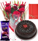 send Half Kg-Eggless Truffle Cake - Roses Bunch  Cadbury Dairy Milk Silk Bubbly - Card delivery