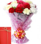 send mix Carnations bunch with Greeting Card delivery
