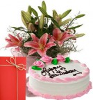 send Fresh Pink Lilies Bouquet Eggless Strawberry Cake With Greeting Card delivery