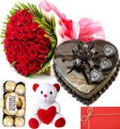 send Red Roses Bouquet Eggless 1kg Heart Shaped Chocolate Cake ferrero rocher chocolate teddy with Greeting Card delivery