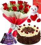 send Red Roses Bouquet - Eggless Black Forest Cake - chocolate - teddy with Greeting Card delivery