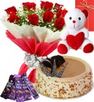send Red Roses Bouquet - Eggless Butterscotch Cake - chocolate - teddy with Greeting Card delivery
