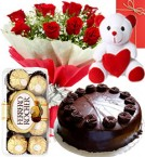 send Red Roses Bouquet - Eggless chocolate truffle cake - ferrero rocher - teddy with Greeting Card delivery