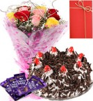 send 1 Kg Eggless Black Forest Cake Roses Bunch dairy milk chocolate Greeting Card delivery