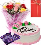 send 1 Kg Eggless strawberry Cake Roses Bunch dairy milk chocolate Greeting Card delivery