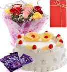 send 1 Kg Eggless Principle Cake - Roses Bunch - Dairy Milk Chocolate - Greeting Card delivery