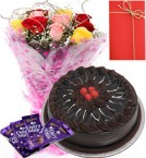 send 1 Kg Eggless chocolate truffle Cake with Roses Bunch dairy milk chocolate Greeting Card  delivery