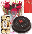 send 1 Kg Eggless chocolate truffle Cake Roses Bunch ferrero rocher Greeting Card delivery